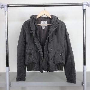 Zenana Grey Padded Cropped Hooded Utility Jacket